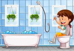 Girl sitting on toilet in bathroom - stock illustration