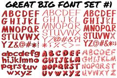 English fonts in red bold - stock illustration