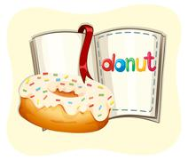 Donut with white frosting and book - stock illustration