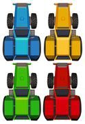 Top view of tractors in four colors - stock illustration