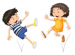 Boy and girl bouncing - stock illustration
