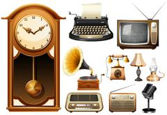 Many kind of antique electornic devices - stock illustration