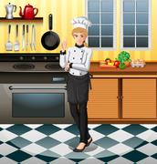 Chef working in the kitchen Stock Illustration