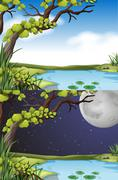 Nature scene at day and night - stock illustration
