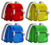 Old schoolbags in four colors - stock illustration