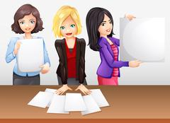 Businesswomen working in team Stock Illustration