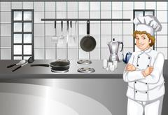 Chef in white uniform working in kitchen - stock illustration