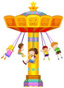 Children swinging in circle - stock illustration