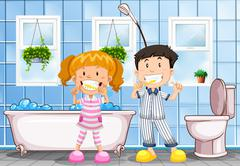 Boy and girl brushing teeth in the bathroom Stock Illustration