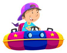 Boy riding on bump car Stock Illustration