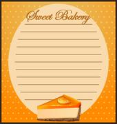 Paper design with orange cheesecake - stock illustration