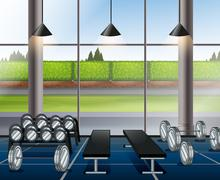 Inside weightlifting room with benches - stock illustration