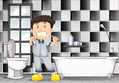 Boy brushing teeth in the bathroom - stock illustration