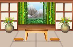 Living room in Japanese style - stock illustration
