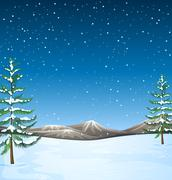 Nature scene with snow falling at night - stock illustration