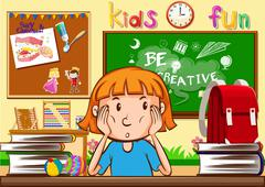 Girl learning in the classroom Stock Illustration