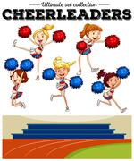 Cheerleaders cheering in the field Stock Illustration