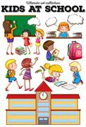 Children learning at school - stock illustration