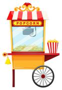 Popcorn vendor with wheel and bell - stock illustration