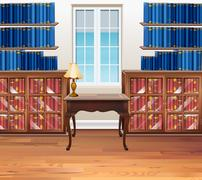 Study room with bookshelves and table Stock Illustration