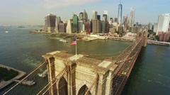Aerial real time toned video around Brooklyn Bridge, Downtown view, New York. 4K Stock Footage