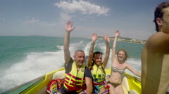 People on fast yacht having fun, laughing and dancing Stock Footage