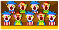 Booth game with clowns - stock illustration