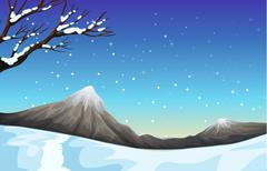 Nature scene during the snow time - stock illustration
