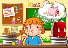 Little girl sitting in the classroom Stock Illustration