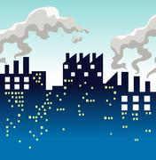 Factory producing lots of smoke Stock Illustration