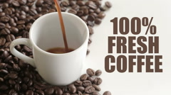 100 precent fresh coffee sign - stock footage