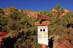 USA, Arizona, Sedona, Warning sign for hikers and bikers in forest Stock Photos