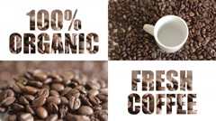 Split screen organic coffee Stock Footage