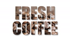 Fresh coffee sign filled with coffee beans Stock Footage