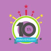 anniversary icon with abstract elements - stock illustration