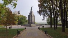 Saint Volodymyr Monument  who christened Kievan Rus.  Aerial filming. Stock Footage