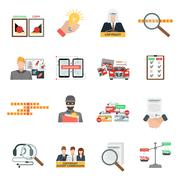 Compliance copyright law flat icons set - stock illustration