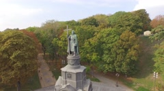 Saint Volodymyr Monument  who christened Kievan Rus.  Aerial filming. Stock Footage
