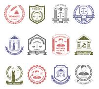 Law And Order Logo Stamps Set - stock illustration