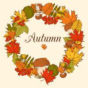Decorative Color Autumn Frame - stock illustration