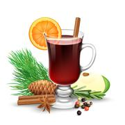 Red Mulled Wine For Winter And Christmas - stock illustration