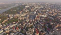 Kiev city center aerial sightseeing Stock Footage