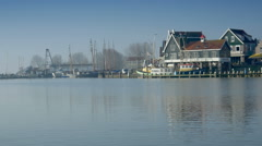 Wharf at Volendam, The Netherlands Stock Footage