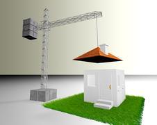 Crane building a house Stock Illustration