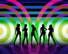 Silhouettes Of Pretty Woman Dancing Stock Illustration