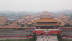 View of the Forbidden City in Beijing with the observation platform Stock Footage