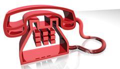3d red telephone Stock Illustration