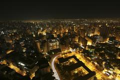 Brazil, Sao Paulo State, Sao Paulo, Elevated view of city at night - stock photo