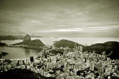 Brazil, Rio de Janeiro state, Rio de Janeiro, Elevated view of city and sea - stock photo