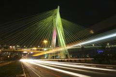 Brazil, Sao Paulo State, Sao Paulo, Octavio Frias de Oliveira bridge at night Stock Photos